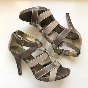 LOFT Leather & Suede Strappy Heels in Brown/Taupe